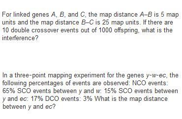 For linked genes A, B, and C, the map distance A-B