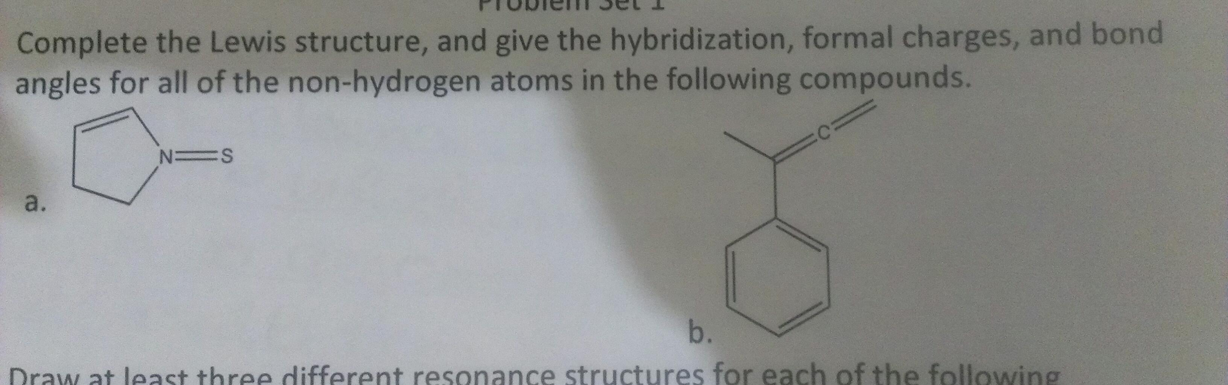 Complete the Lewis structure, and give the hybridi
