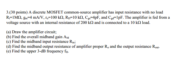 A discrete MOSFET common-source amplifier has inpu