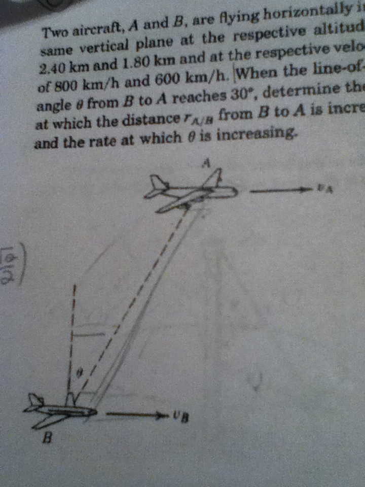 Two airplanes A and B are flying horizontally in t