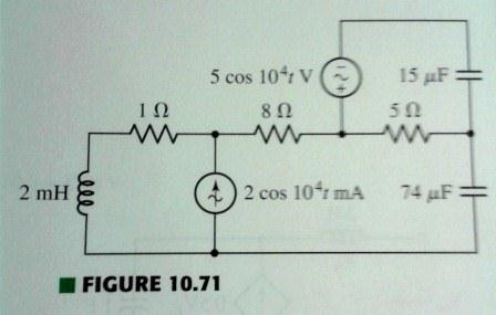 Compute the power dissipated by the 1 Ohm resistor