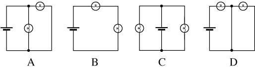 Which of these circuits have bulbs in parallel? (C
