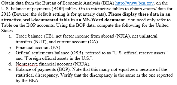 Solved obtain data from the bureau of economic analysis - Bureau of economic analysis us department of commerce ...
