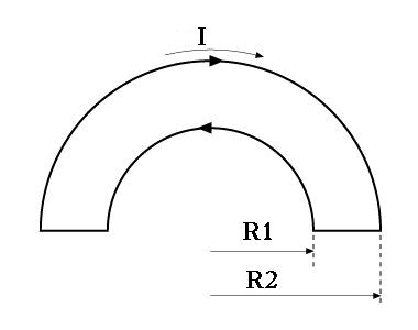 A wire loop consists of two semicircles connected