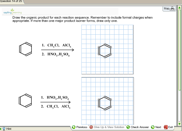 Draw the organic product for each reaction sequenc
