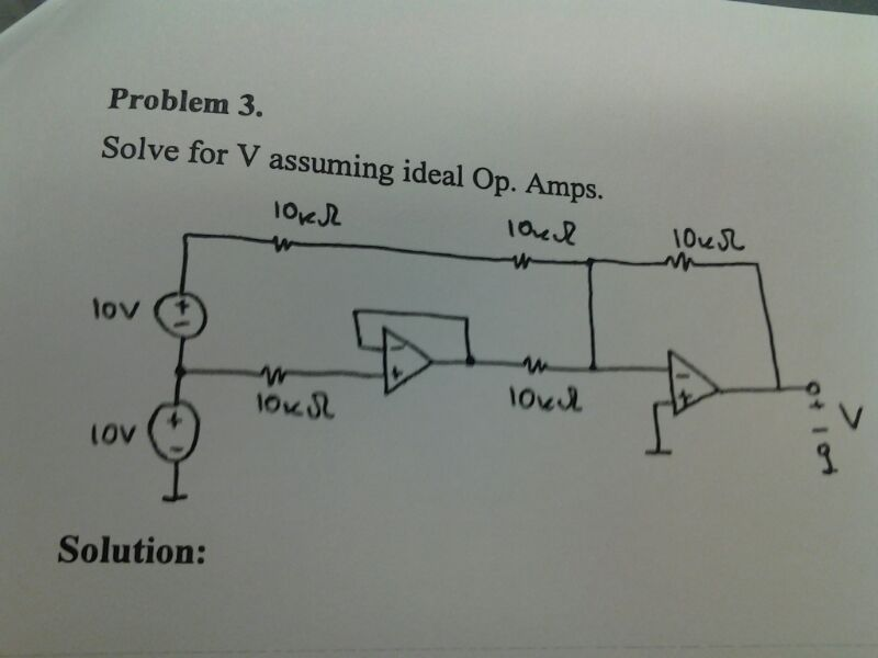 Solve for V assuming ideal Op. Amps. Solution: