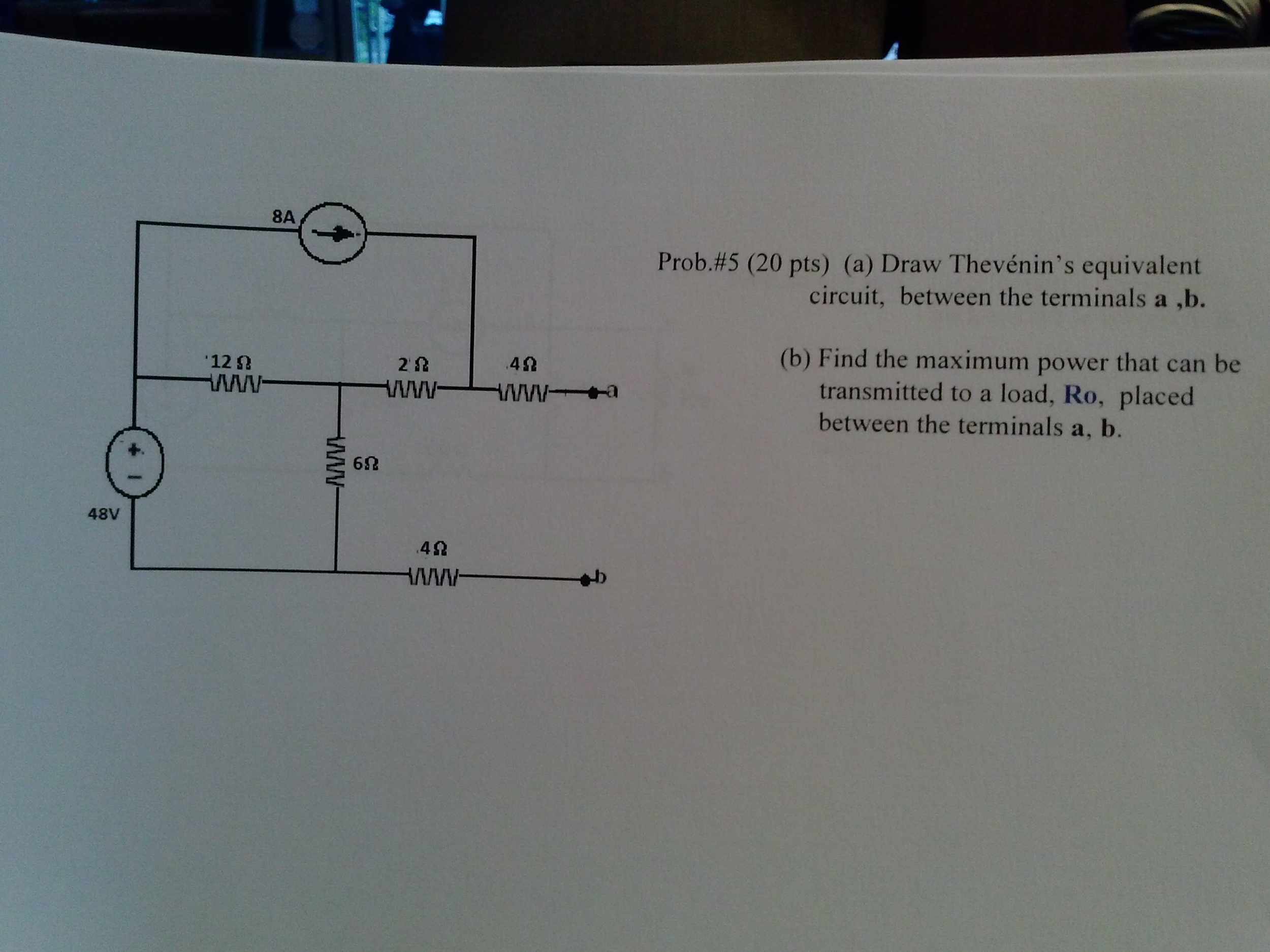 Draw Thevenin's equivalent circuit, between the te