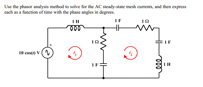 Use the phasor analysis method to solve for the