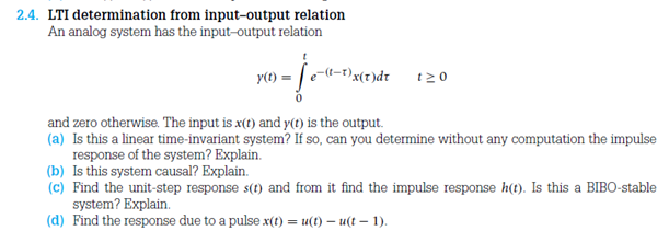LTI determination from input-output relation An a
