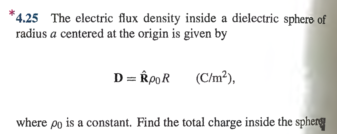 The electric flux density inside a dielectric sphe