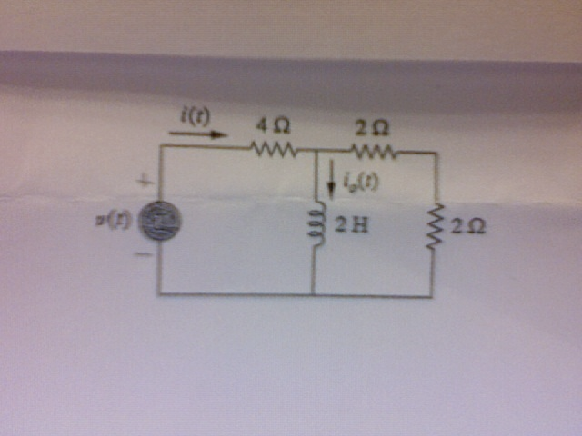 For the circuit shown above: find i.(t) if v(t) =