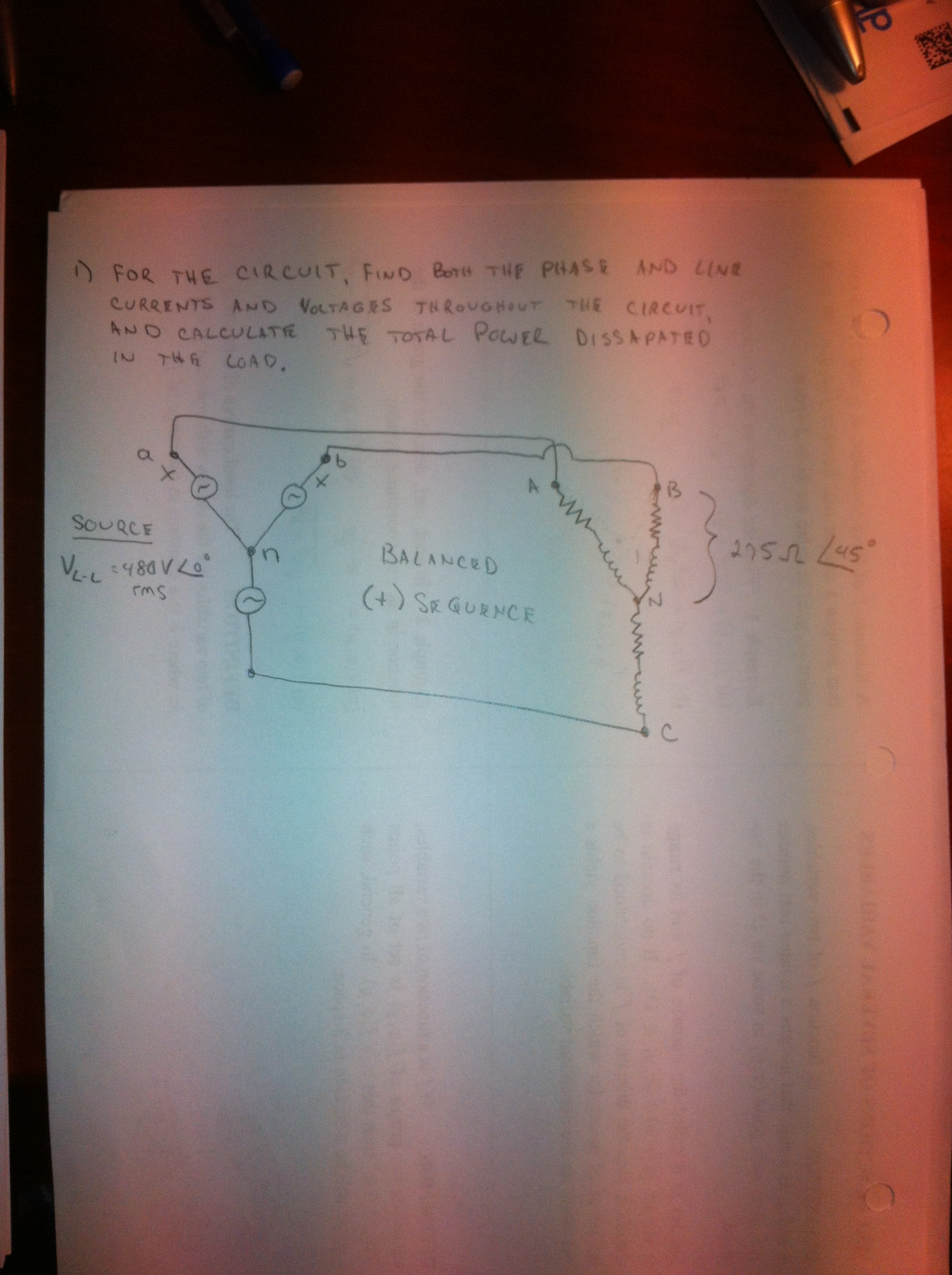 FOR THE CIRCUIT, FIND BOTH THE PHASE AND LINE CURR