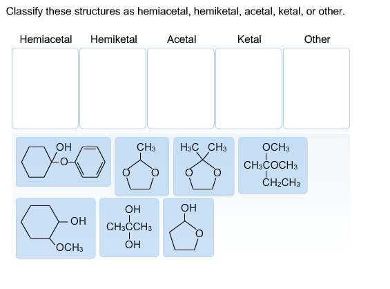 Classify these structures as hemiacetal, hemiketal