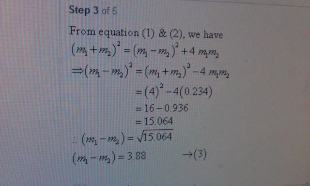 Hi! How does what is given (equation one) m1 + m2