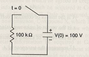 In the circuit shown below, the capacitor had been