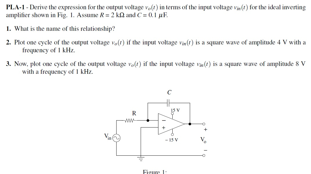 Derive the expression for the output votage v0 (t)