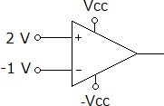 Determine the output voltage for the op-amp compar