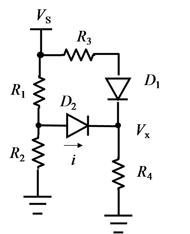 The diodes in the circuit below have a turn-on vol