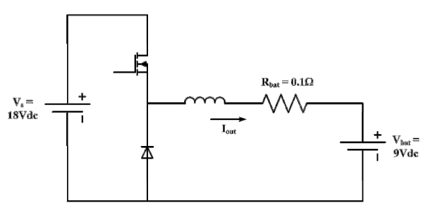 The buck converter shown below is used to charge a