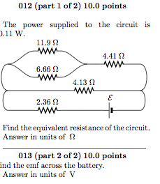 The power supplied to the circuit is 0.11 W. Find