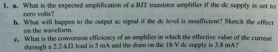 What is the expected amplification of a BJT transi
