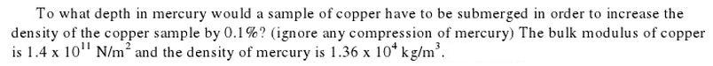 To what depth in mercury would a sample of copper