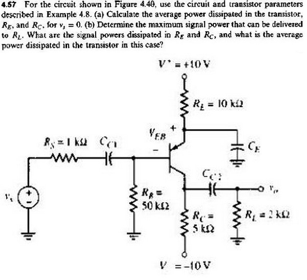 For the circuit shown , use the circuit and transi