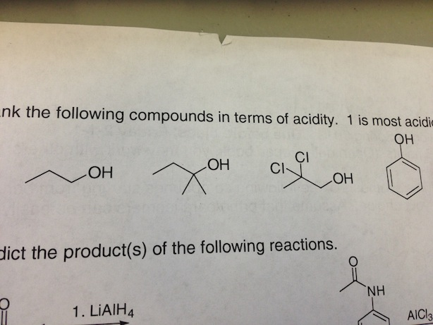 The following compounds in terms of acidity. 1 is