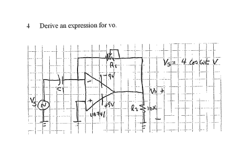 Derive an expression for vo.