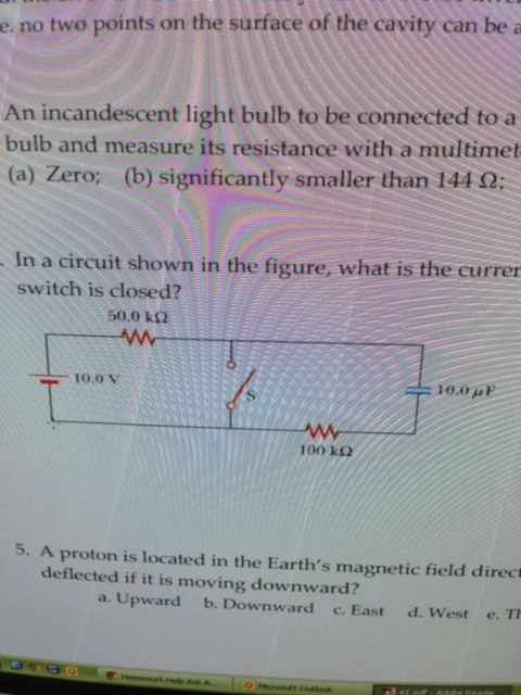 In a circuit shown in the figure, what is the curr