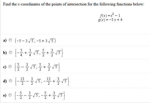 Find the x-coordinates of the points of intersecti
