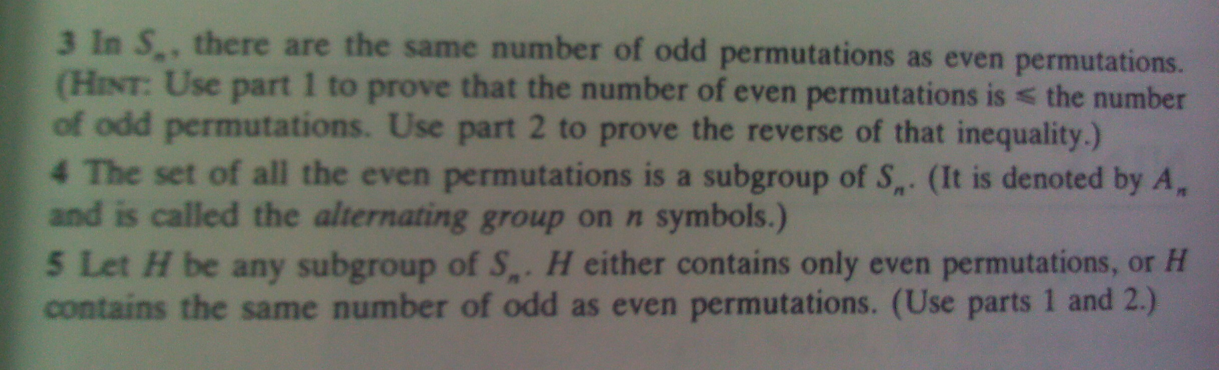 † G. Even/Odd Permutations in Subgroups of Sn Pro