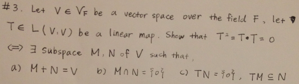 Let be a vector space over the field F, let be a