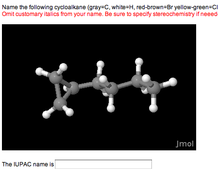 Name the following cycloalkane (gray = C, white =
