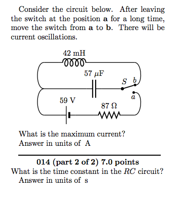 Consider the circuit below. After leaving the swit