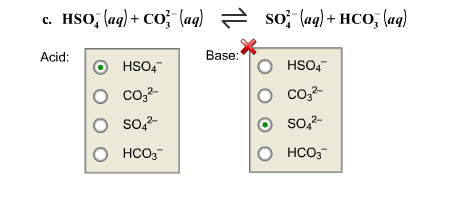 HSO4 -(aq)+co3 2- (aq) So4 2-(aq)+ hco3-(aq).