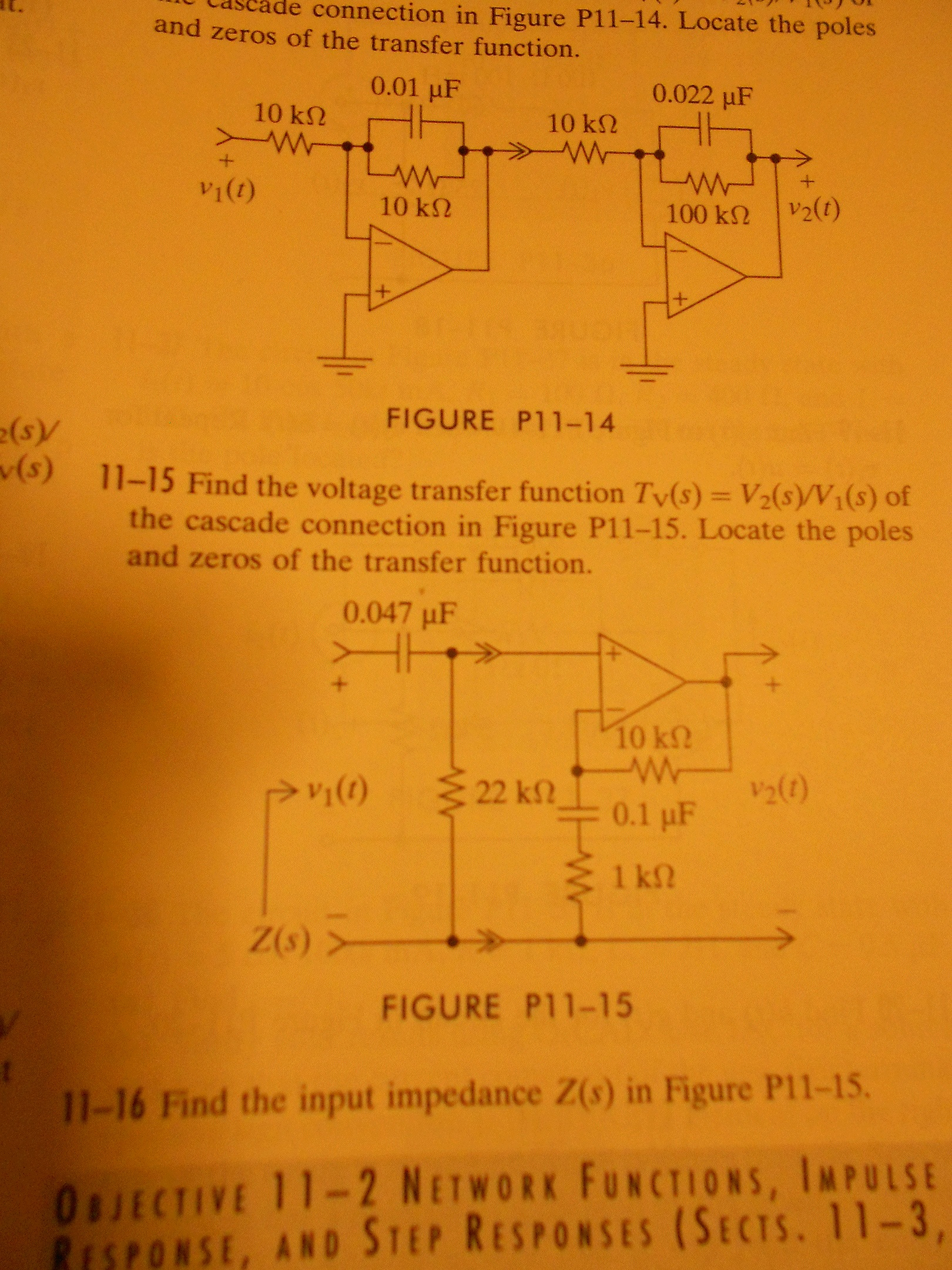 Find the voltage transfer function Tv(s) = V2(s)/V