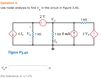 Use nodal analysis to find VQ in the circuit in Fi