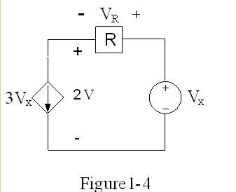 In Figure 1-4, if Vx=7V, what is the power absorbe