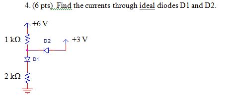 Find the currents through ideal diodes D1 and D2.