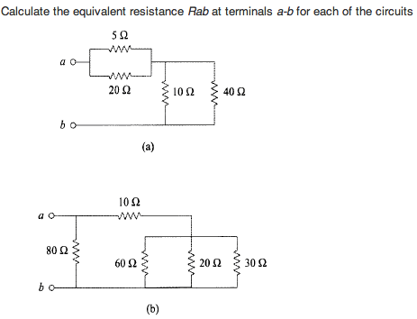 Calculate the equivalent resistance Rab at termina