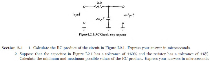 RC Circuit: step response Calculate the RC produc