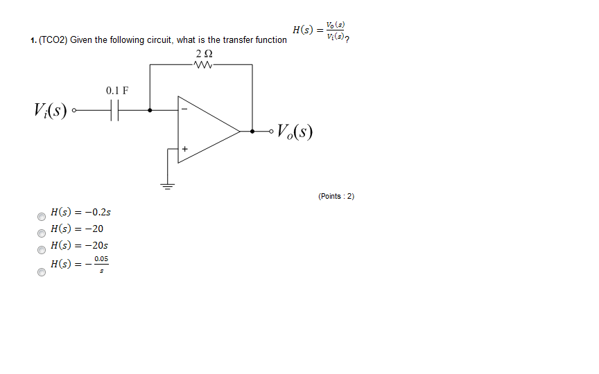 (TCO2) Given the following circuit, what is the tr