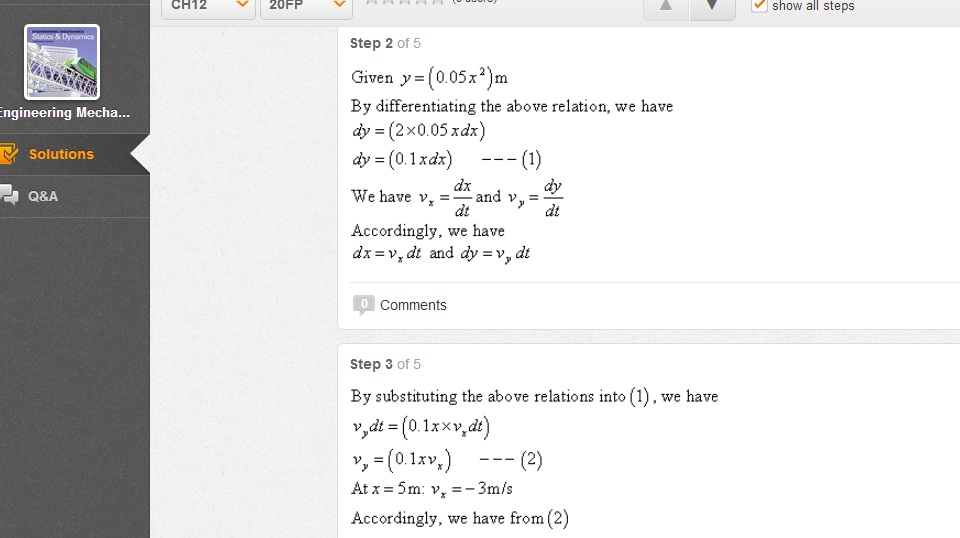 Given y = (0.05x2) m By differentiating the above