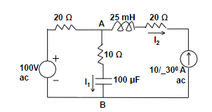 In the circuit above, assuming frequency to be 60