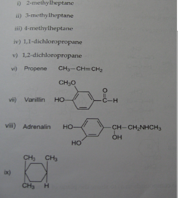 Nine compounds are listed below. Do the following