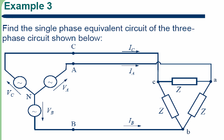 Find the single phase equivalent circuit of the th