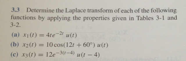 Determine the Laplace transform of each of the fol