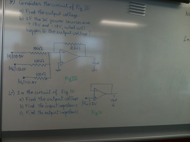 Consider the circuit of fig find the output volta