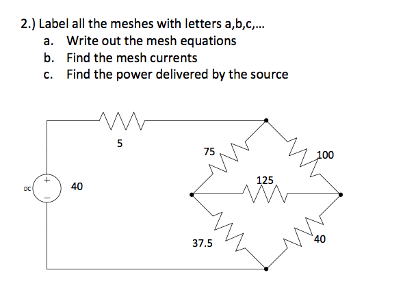 Label all the meshes with letters a,b,c,... Write